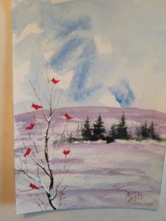 Cardinal Tree  5X7 in.  Wildlife painting  Jim by jimsmeltzgallery