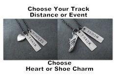 TRACK DISTANCE or EVENT Necklace  Heart or Shoe by TheRunHome