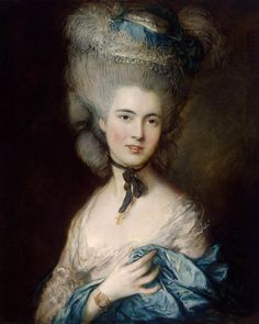 GAINSBOROUGH, Thomas  [English Rococo Era/Romantic Painter, 1727-1788] Portrait of a Lady in Blue1779-81