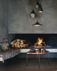 Cement wall, cozy fireplace