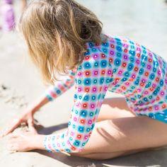 Girls Rainbow Geo Long Sleeve Rashie | Sandy Feet Australia