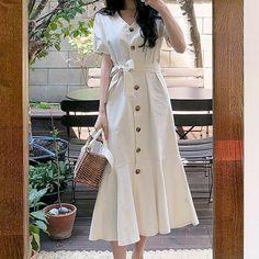 Korean Fashion Dress, Korean Dress, Ulzzang Fashion, Korean Outfits, Modest Fashion, Fashion Dresses, Boho Fashion, Fashion Jewelry, Stylish Dresses