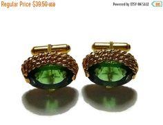 ON SALE 60s Green Jewel Cuff Links Vintage by PopcornVintageByTann