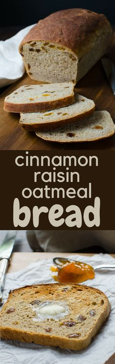 Need a good raisin bread recipe? Cinnamon Raisin Oatmeal Bread is a simple, foolproof loaf that's hearty and delicious. Makes 2 large loaves. Tasty Bread Recipe, Healthy Bread Recipes, Muffin Recipes, Cinnamon Raisin Bread, Oatmeal Bread, Artisan Bread Recipes, Easy Bread, Breakfast Toast, Bread Baking
