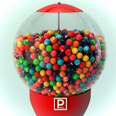 """Un Vecchio rendering di un """"Gumball Machine"""" ovvero un """"distributore di chewing gum"""". Realizzato con Cinema 4d e Photoshop."""