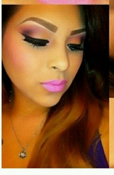 I'd loose the pink lip and do neutral instead