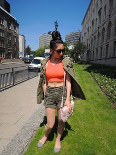 Plearn Nataricha - Topshop Orange Top, Zara Green Jean Jacket, Miss Selfridge Green High Waist Shorts, Topshop Nudey Bag - Military in town | LOOKBOOK