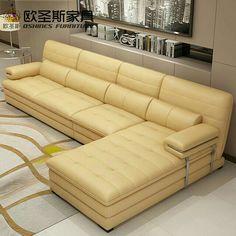 yellow leather sectional sofa set, metal frame leather sofa,italian leather l shape sofa Leather Living Room Set, Sofa Decor, Sofa Bed Design, Wooden Sofa Set Designs, Latest Sofa Designs, Sofa Furniture, Wood Sofa, Living Room Sofa Design, Diy Furniture Sofa