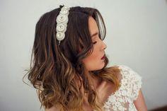 Wedding white headpiece Bridal crystal headband by Rozenhandmade
