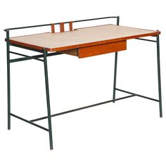 Leather and Rattan Desk by Jacques Adnet | See more antique and modern Desks and Writing Tables at https://www.1stdibs.com/furniture/tables/desks-writing-tables