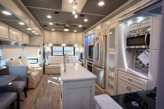 Beachfront decor with aurora counter top in this Luxe 39FB Elite Fifth Wheel Luxury Fifth Wheel, 5th Wheels, Build Your Own, French Door Refrigerator, Countertops, Floor Plans, Kitchen Appliances, Flooring, Building