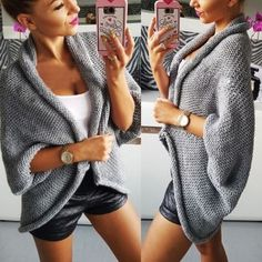 Grey Plain Turndown Collar 3/4 Sleeve Casual Cardigan Sweater