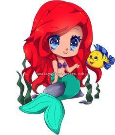 """""""Troooop mimiii, adOrable"""" <3 ~ Princesse Ariel {ChiBi} et Polochon {le Poisson} ~  La Petite Sirène  ~ [❤️Disney❤️]"""