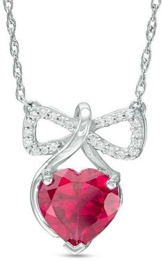 Zales 6.0mm Heart-Shaped Lab-Created Ruby and Diamond Accent Bracelet in Sterling Silver