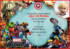Personalised boys Birthday Party Invitations/Thank you card Marvel Heroes X 8 Personalised Party Invitations, Printable Invitations, Birthday Party Invitations, Avengers Birthday, Superhero Birthday Party, Boy Birthday, Marvel Heroes, Thank You Cards, Casino Decorations