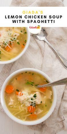 Spaghetti Soup, Lemon Spaghetti, Crockpot Recipes, Soup Recipes, Chicken Recipes, Lemon Chicken, Chicken Soup, Rotisserie Chicken, Giada Recipes