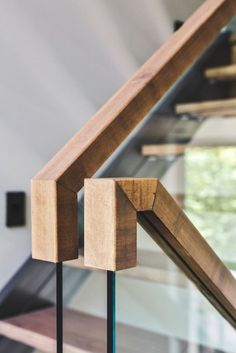 Nice idea for a modern banister - squared off instead of rounded and in a light colored wood. Gallery of Estrade Residence / MU Architecture - 13 Loh Yvonne stairs balustrade Nice idea for a modern b Stair Handrail, Staircase Railings, Banisters, Staircase Design, Stairways, Glass Stair Railing, Balustrade Design, Timber Handrail, Glass Handrail