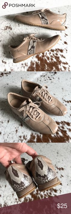 Cold haan Bria Grande snake print sneaker 9 Adorable nude perforated patent sneakers with snake print details. Worn twice. Extremely comfortable! Cole Haan Shoes Sneakers