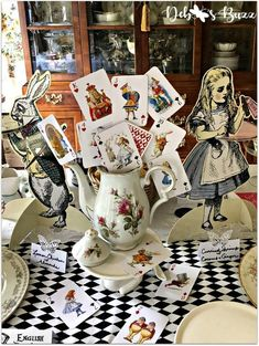 Alice in wonderland cards and vintage china teapot centerpiece, decoration. Alice In Wonderland Decorations, Alice In Wonderland Vintage, Alice In Wonderland Tea Party, Alice In Wonderland Illustrations, Casino Party Decorations, Casino Theme Parties, Party Themes, Wedding Themes, Wedding Cards