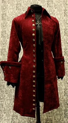 GALLEON PIRATE COAT - BURGUNDY VELVET
