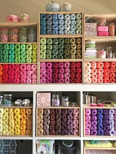 And I know in my heart - CrochetObjet Yarn Storage, Craft Room Storage, Craft Rooms, Storage Ideas, My Little Corner, Yarn Organization, Sewing Spaces, Fun Diy Crafts, Store Interiors