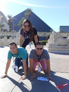 Human Pyramid in front of Luxor Hotel and Casino in Las Vegas! Book a Las Vegas HUNT for your next team meeting or conference.