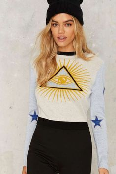Nasty Gal Evil Eye Intarsia Sweater - Clothes   Graphics   Knits   Pullover   Tops