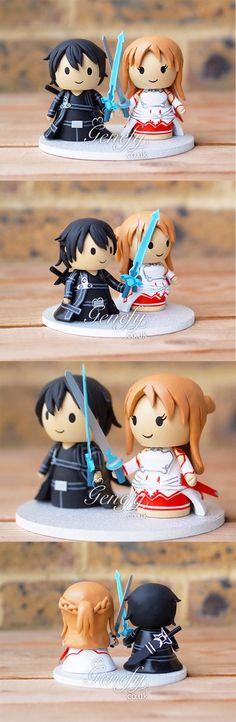 Sword Art Online Kirito and Asuna anime wedding cake topper by Genefy Playground  https://www.facebook.com/genefyplayground