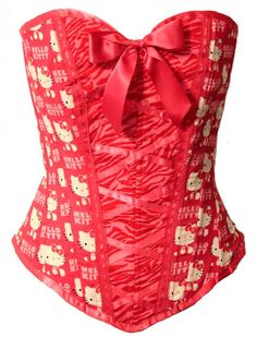 Red Zebra Hello Kitty Corset in stock ready to ship. $59.99, via Etsy.