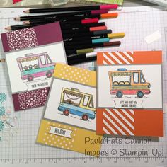 Stampin' Up Sale-a-bration Tasty Trucks.  Using bits of DSP too.