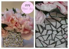 DIY Mosaic Vase, DIY Wedding Centerpiece, Cheap Wedding Centerpiece, Pink Peonies,CD Mosaic