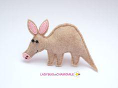 Felt AARDVARK stuffed felt Aardvark magnet or ornament