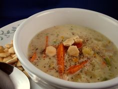 """Alaskan Salmon Chowder: """"Very tasty soup! My family liked this a lot. I will definitely make this again!"""" - I would use fat free evap milk and fresh salmon to lower the ww points Smoked Salmon Chowder, Salmon Soup, Salmon Recipes, Fish Recipes, Seafood Recipes, Chowder Recipes, Soup Recipes, Crockpot Recipes, Healthy Recipes"""