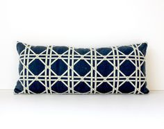 Lattice Trellis Designer Pillow Cover bolster 10x22 Indigo Navy Blue Cream . Nautical Accent Throw Cushion cane resort palm springs mad men. $37.00, via Etsy.