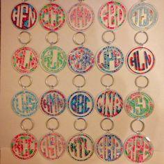 Lilly Pulitzer Inspired Monogram Key chain - $8