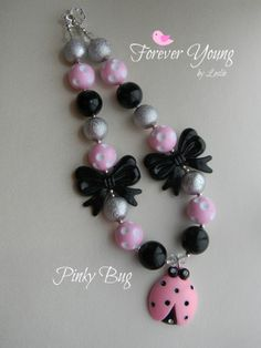 Pinky Bug Chunky Bead Bubblegum Necklace by ForeverYoungByLeslie, $15.00