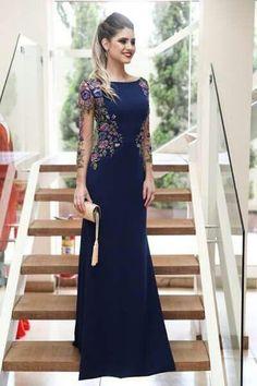 Mermaid Long Sleeves Navy Blue Scoop Prom Dresses