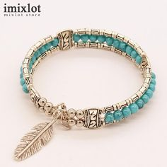 >> Click to Buy << Imixlot Punk Design Natural Stone Bracelets & Bangles For Women Men Tibetan Silver Feather Charm Bracelet Vintage Jewelry #Affiliate