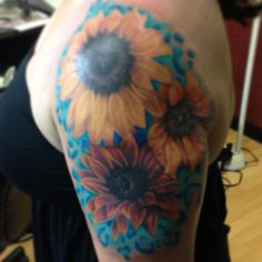 My sunflower tattoo! Love love love! Thanks to Marc Skiles at 13 Shades in Kennewick, WA