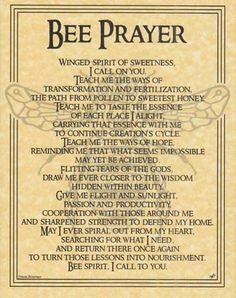 Bee Prayer poster - i will definitely be saying this prayer in my garden this spring