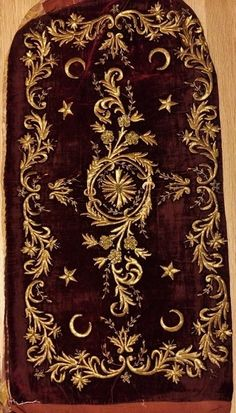 A velvet 'yastık' (cushion cover).   Late-Ottoman, second half of 19th century.  Embroidered with   gold dival work ('Maraş işi').