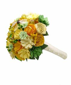 Paper flower bouquet boutonnieres corsages by onehappygirl on Etsy