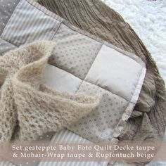 Set gesteppte Baby Foto Quilt Decke taupe & Mohair-Wrap taupe & Rupfentuch beige