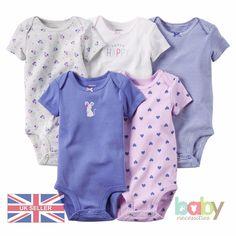 Baby Romper Bodysuit Pack Bundle Set Girls Carters Cotton Nautical Clothes UK