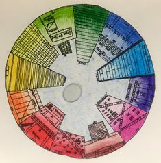 Objective: Students will create a color wheel using one point perspective, accurate color placement and value CA Art Standards. Elementary Art Rooms, Art Lessons Elementary, Color Wheel Projects, Art Projects, 7th Grade Art, Grade 3, Elements Of Art Color, Color Wheel Art, Fall Arts And Crafts