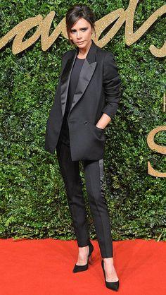 Victoria Beckham in a slim black tuxedo