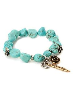 Turquoise Stretch Silver Flowered Bracelet - Jewelry - Lucky Brand Jeans