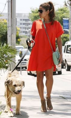 Eva Mendes wearing a great shift like dress to walk the dog!