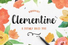 Clementine Script is a tangy new hand crafted typeface. This script was inspired and designed with a large chisel felt marker. Bold characters make your logo stand out. Perfect for signage, posters, logos, headlines, and more!