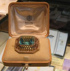 FABERGE Siberian Aquamarine & Diamond Brooch-a gift from Nicholas II to Alexandra which she was wearing right up until the time of her murder July 17, 1918.""